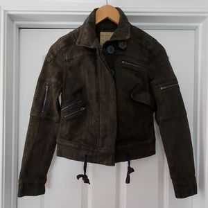 Free People Jean Military Style Jacket
